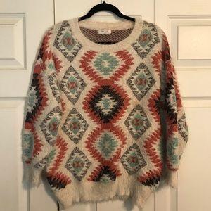Blvd Collection OSFM Aztec Style Sweater Beige
